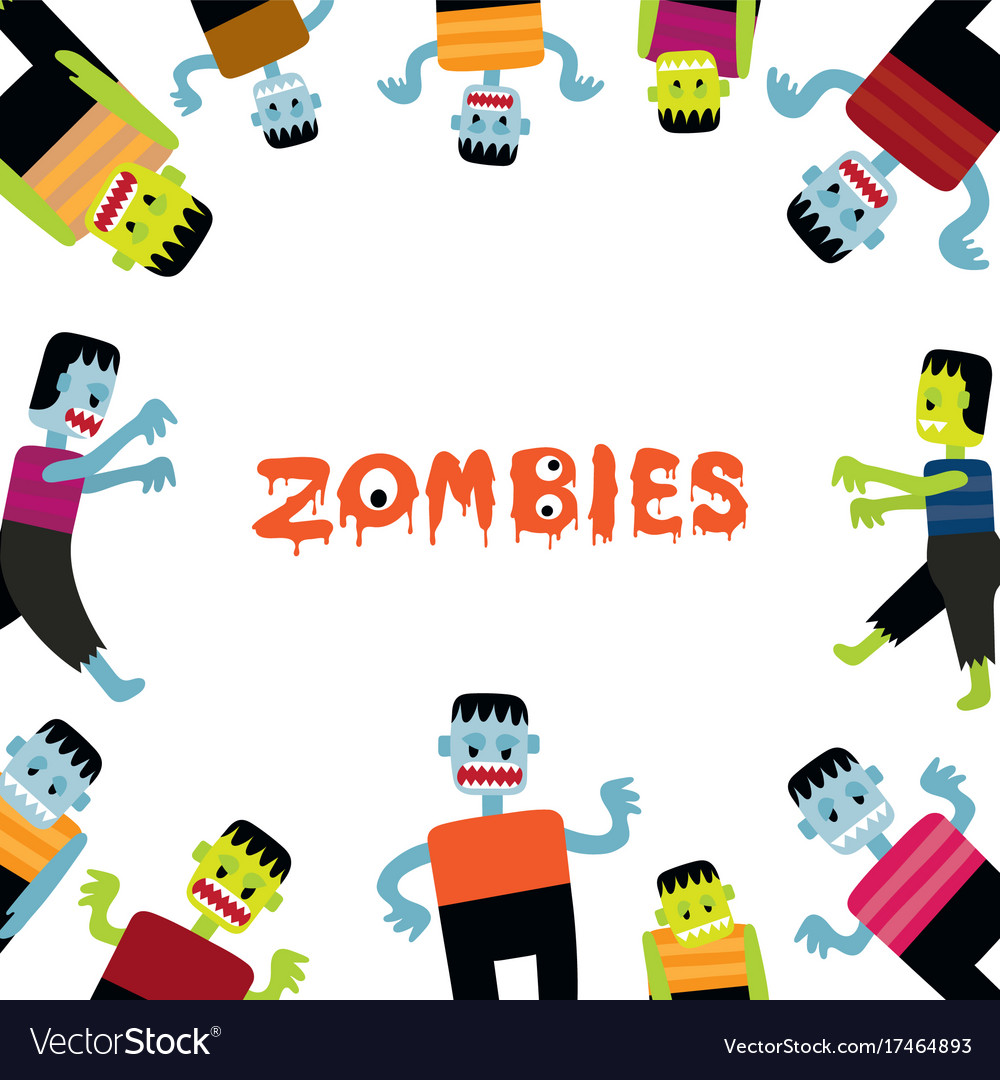 Zombie cartoon characters frame