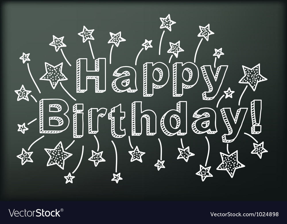 Blackboard with Happy Birthday vector image