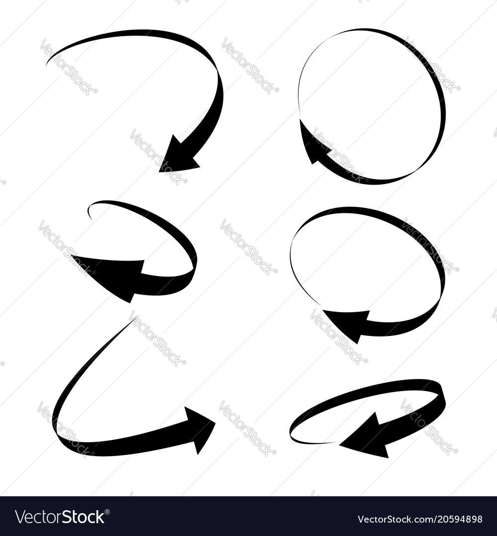 Curved arrow icons isolated on white background