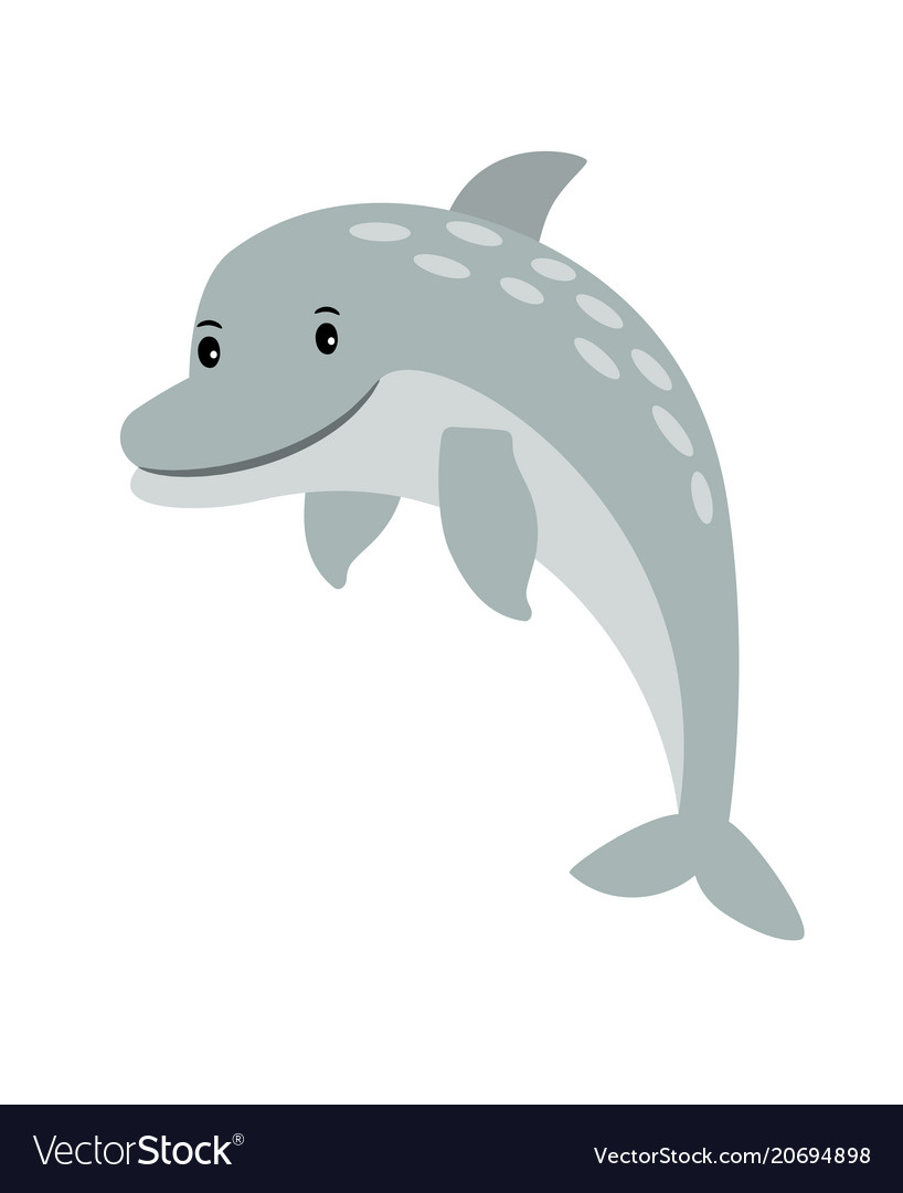 Dolphin cartoon sea animal icon vector image