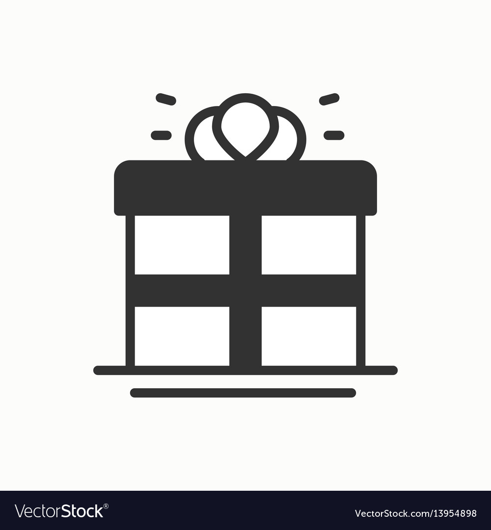 Gift box with ribbon icon present giftbox party vector image