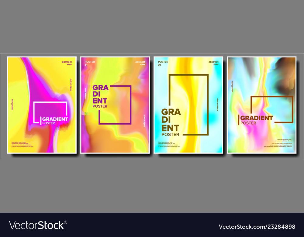 Gradient fluid poster set cool brochure