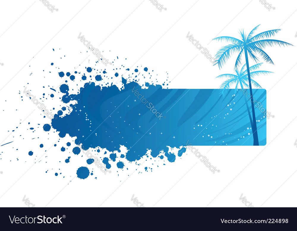 Grunge banner with palm trees vector image