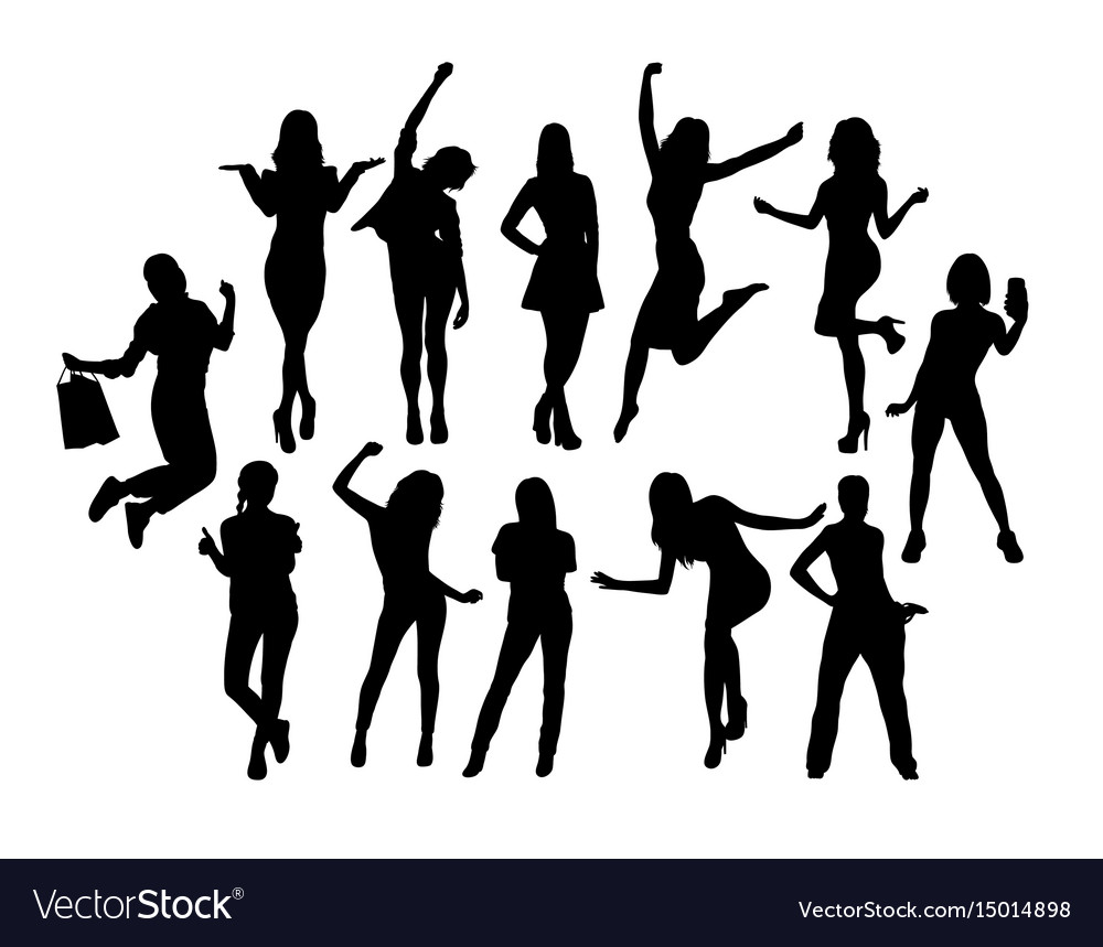 Happy woman activity silhouettes vector image