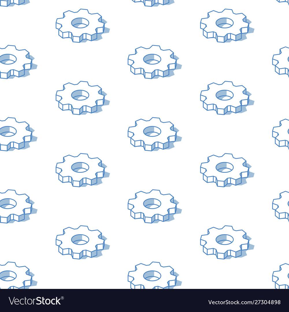 Isometric cogwheels background outline isometric