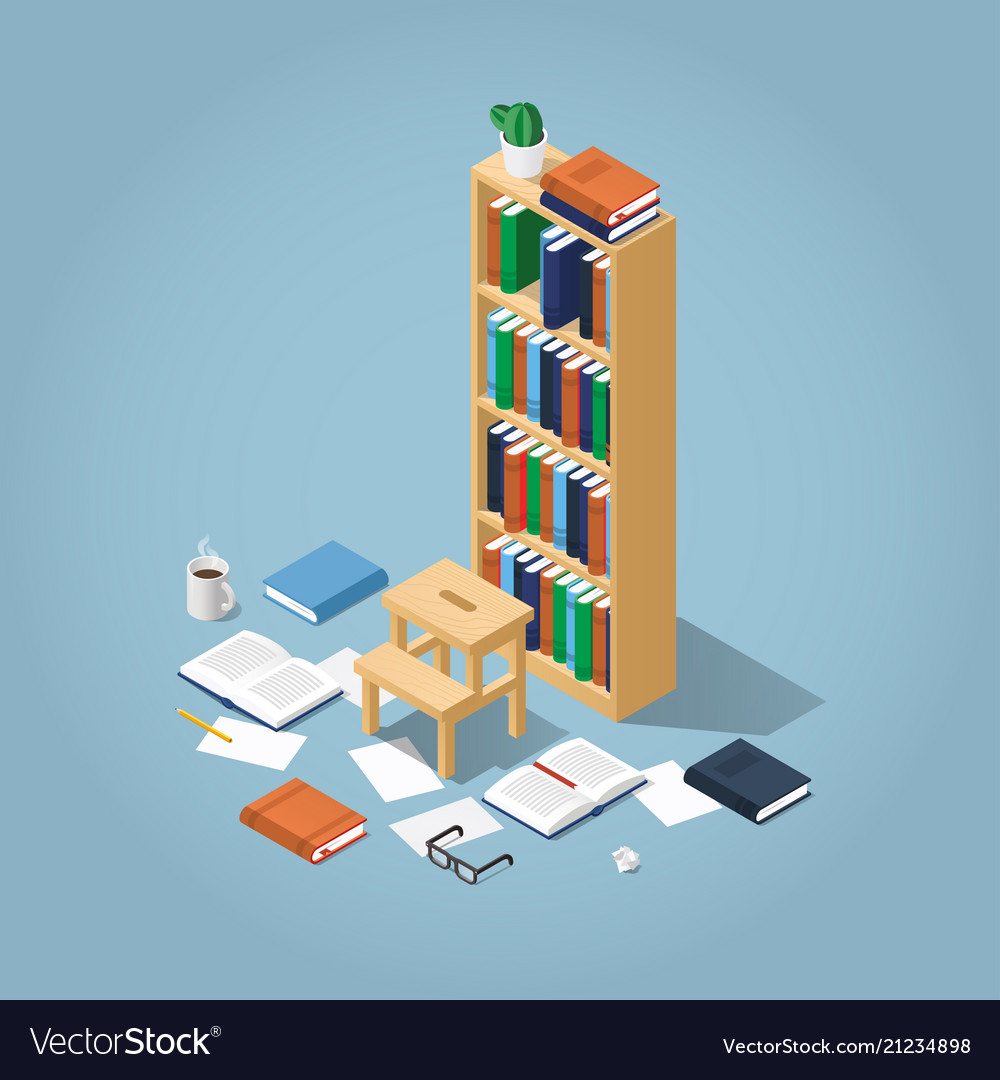 Isometric library bookcase