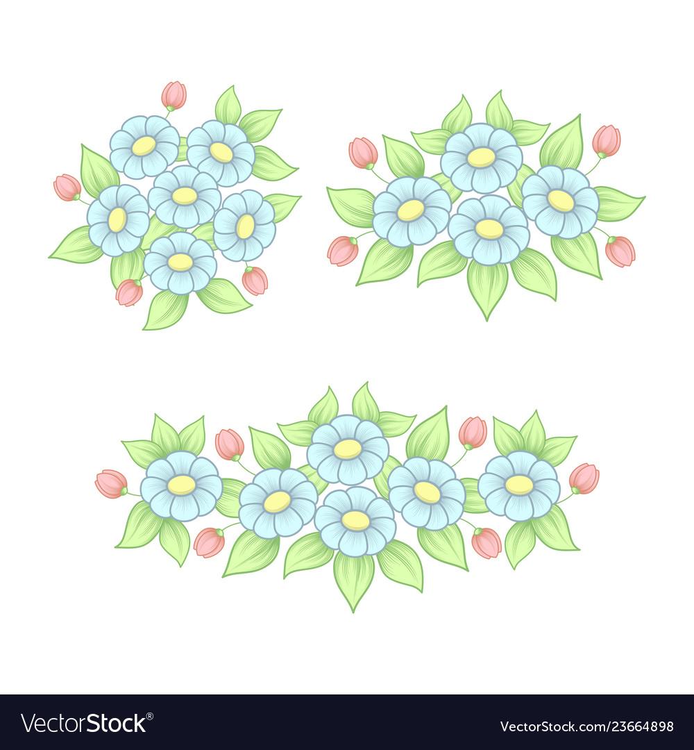 Pastel daisy elements set