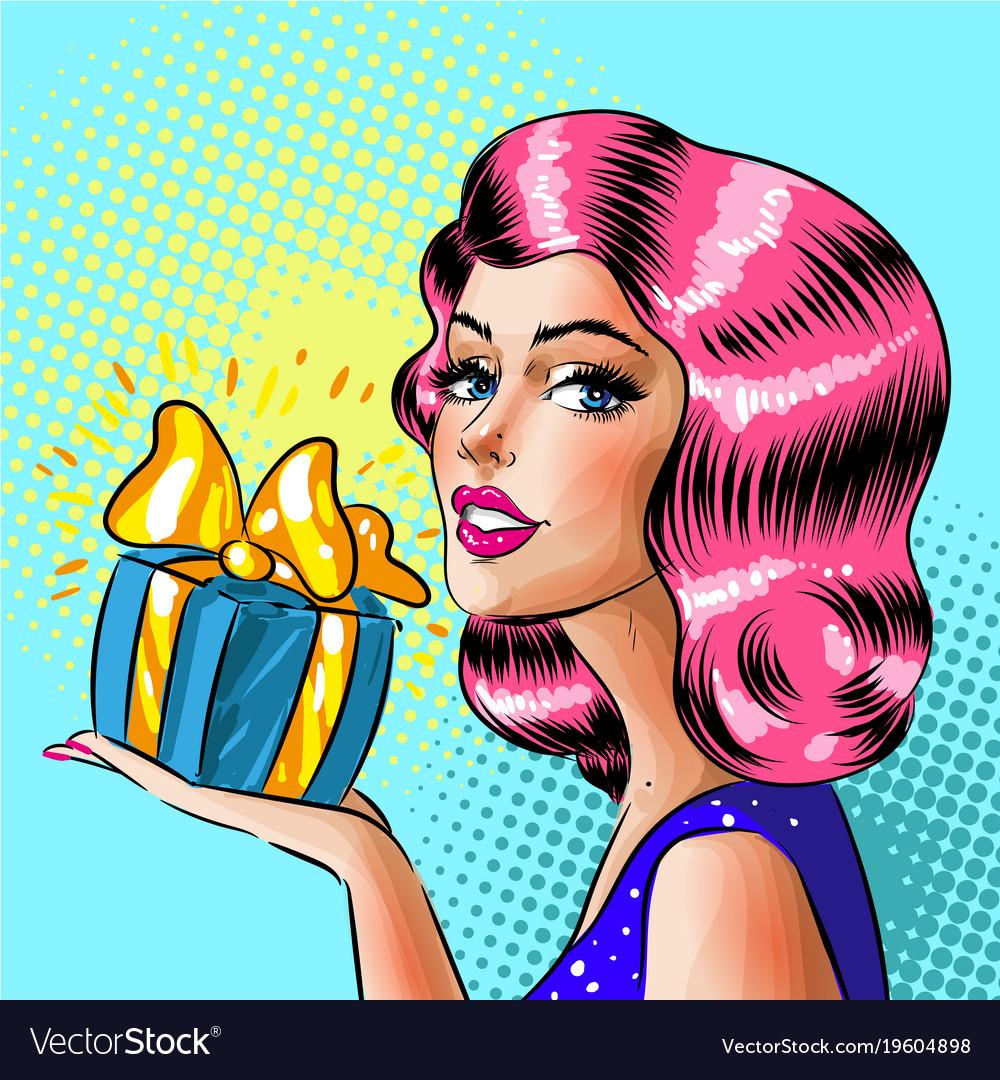 Retro pop art woman holding gift box