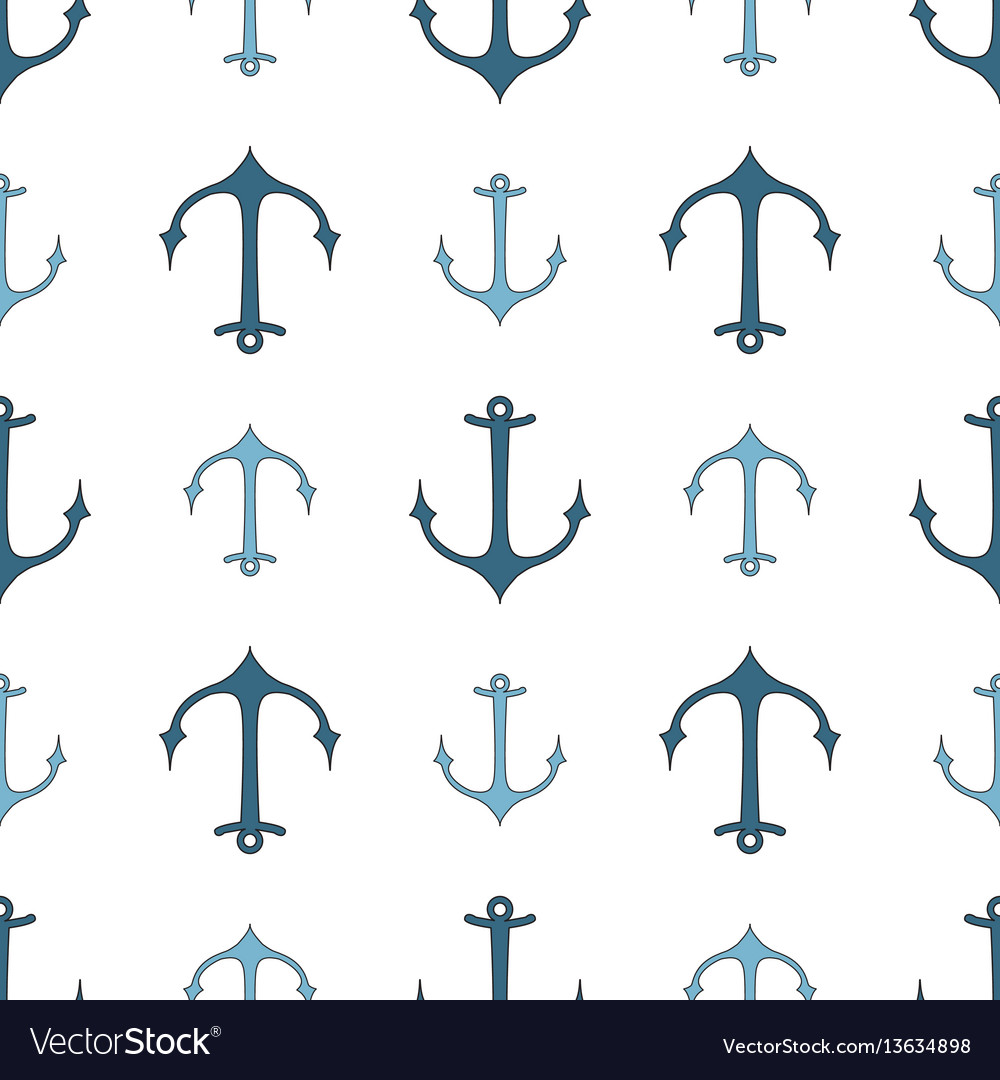 Seamless pattern of marine symbols