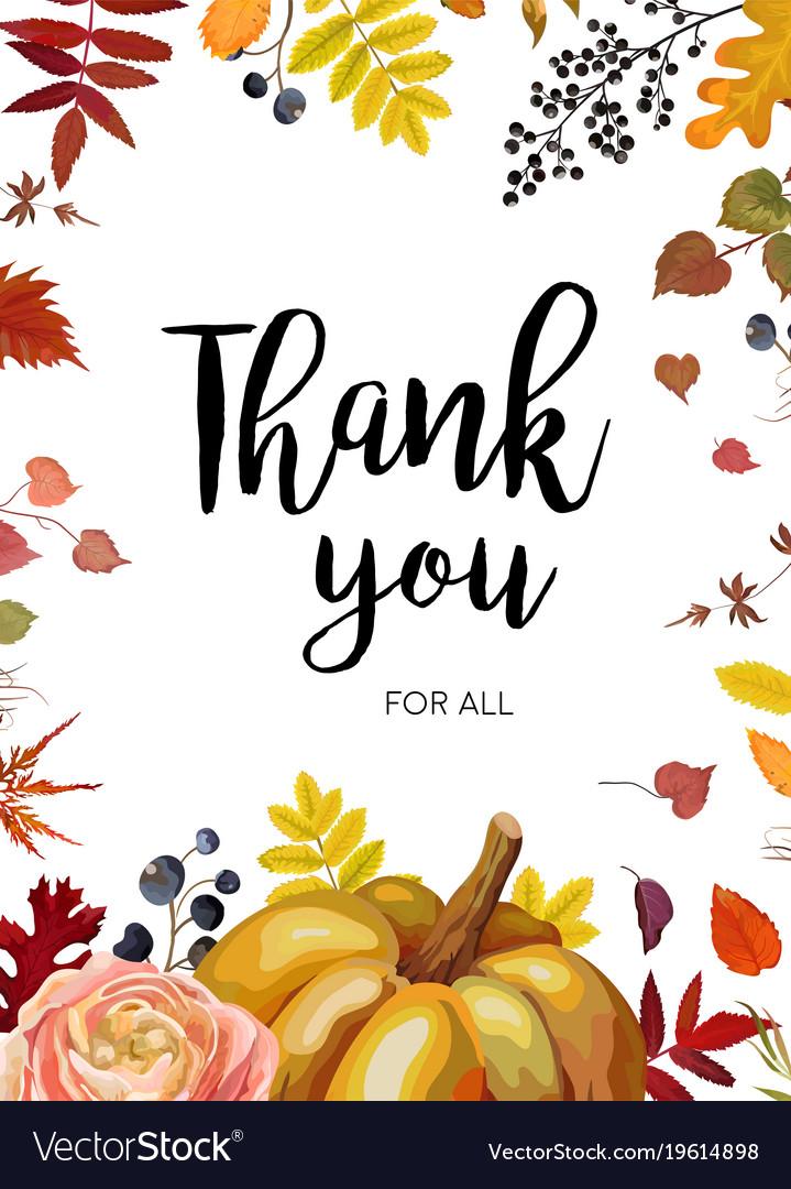 Thank You Greeting Card Postcard Autumn Design Vector Image