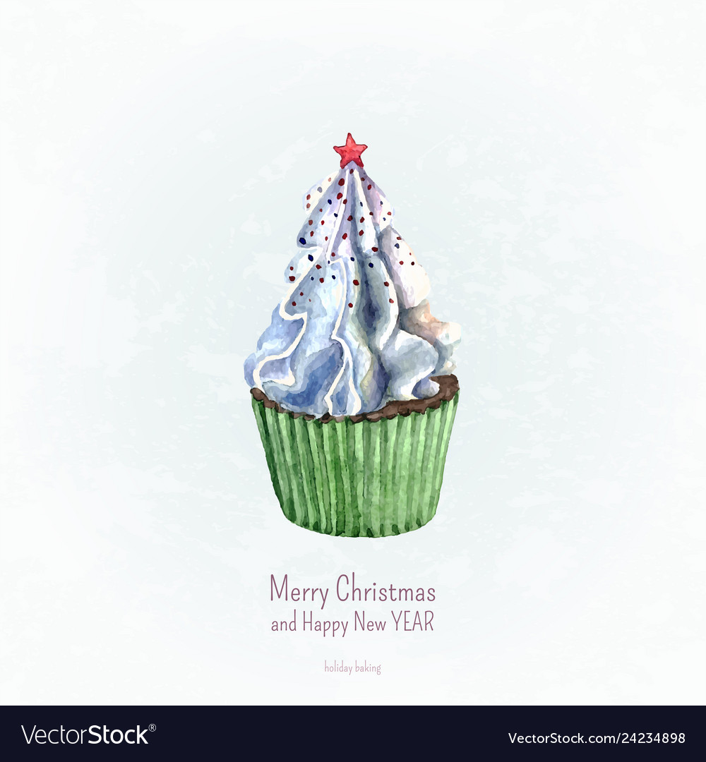 Watercolor cupcake christmas and new year card