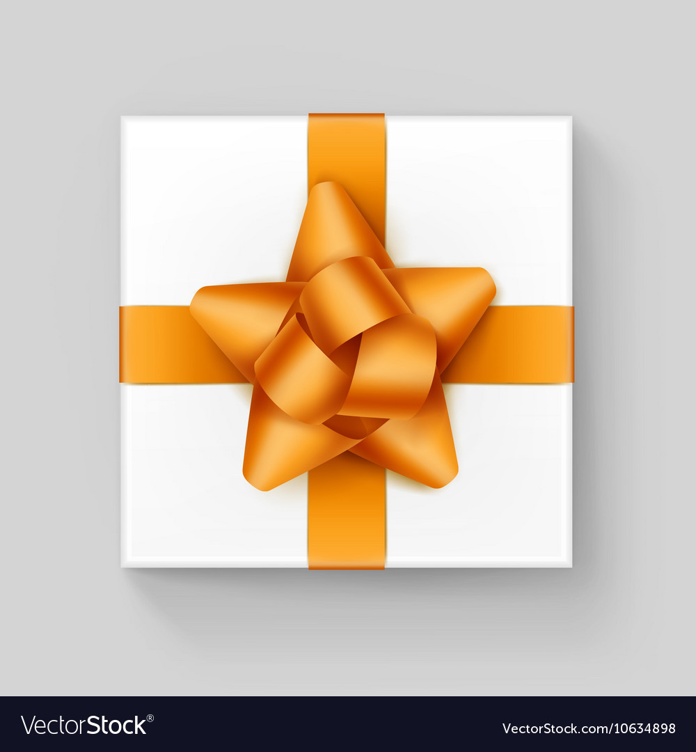 White Square Gift Box with Yellow Ribbon Bow