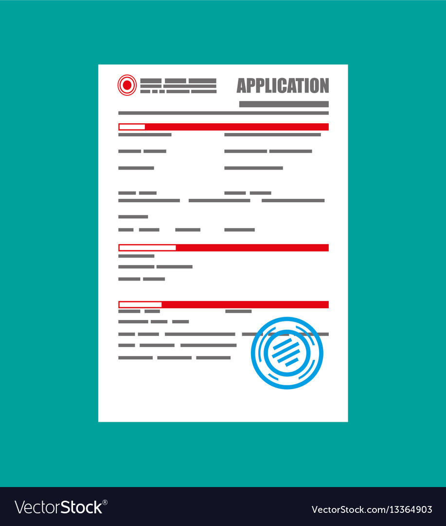 application form paper blank with seal royalty free vector