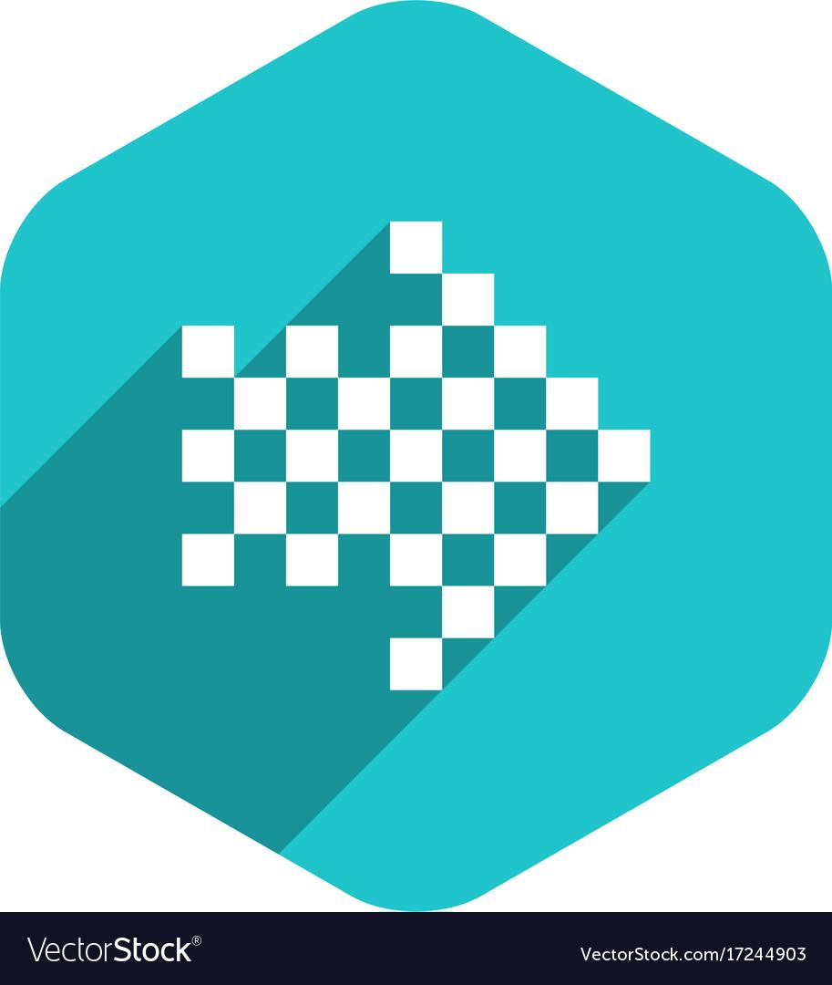 Arrow sign digital display hexagon icon Royalty Free Vector