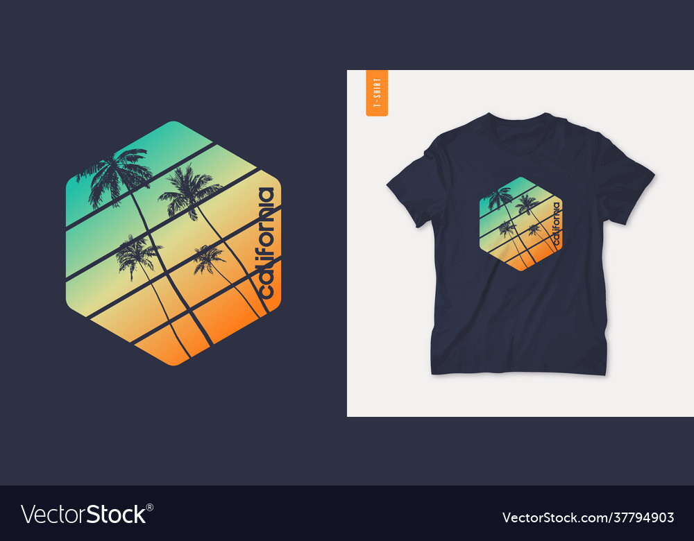 California graphic t-shirt design with palm tress