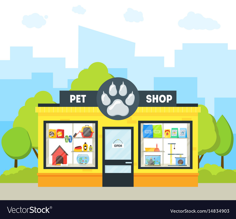 Cartoon pet shop building