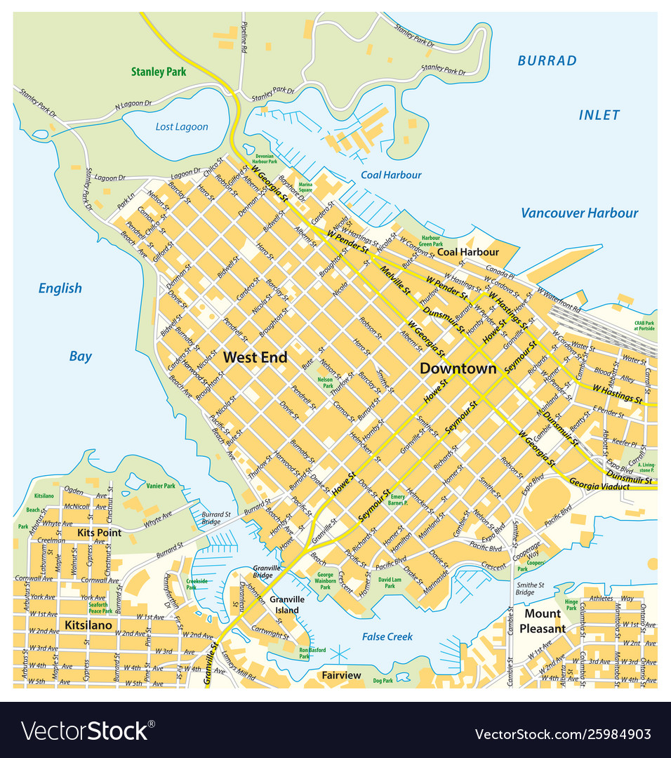Vancouver Canada Street Map Detailed street map downtown vancouver canada Vector Image