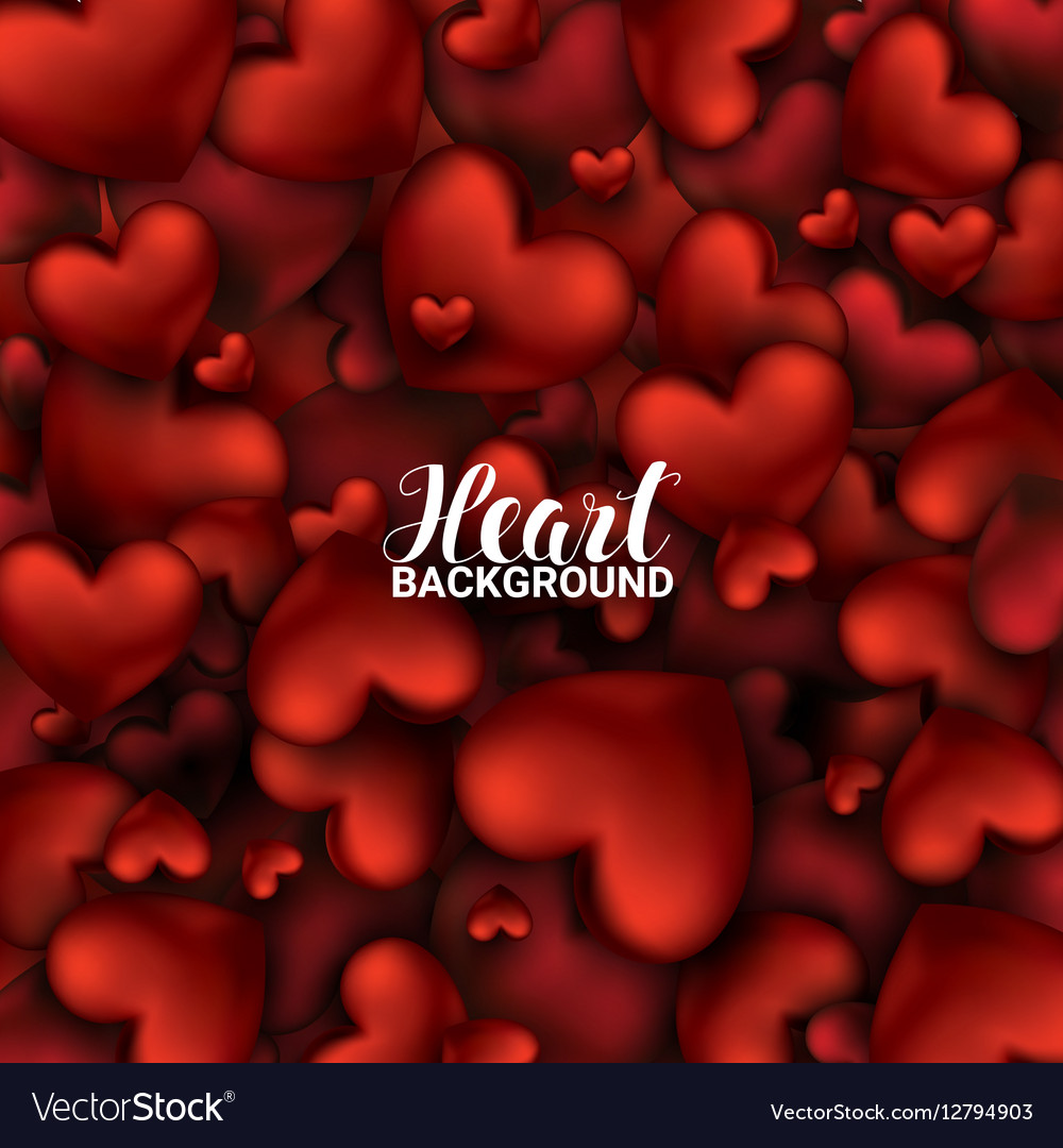 February 14 Love romantic 3D Realistic Red Hearts