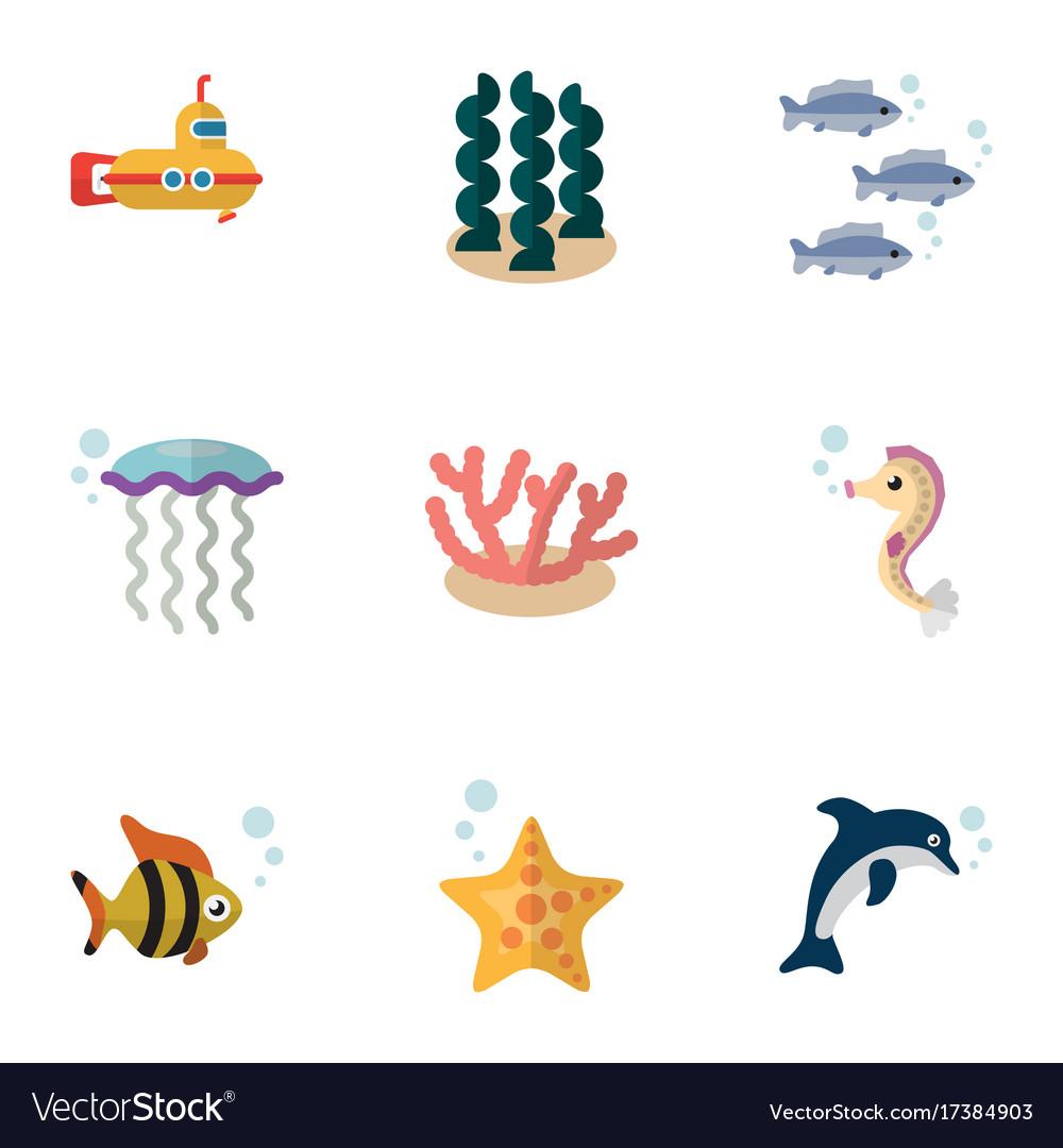 Flat icon nature set of hippocampus periscope