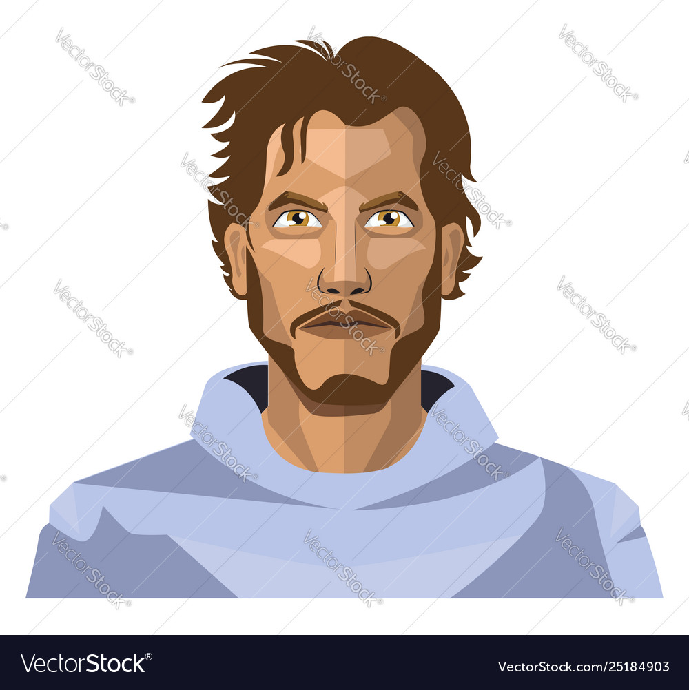 Guy with beard and long hair on white background