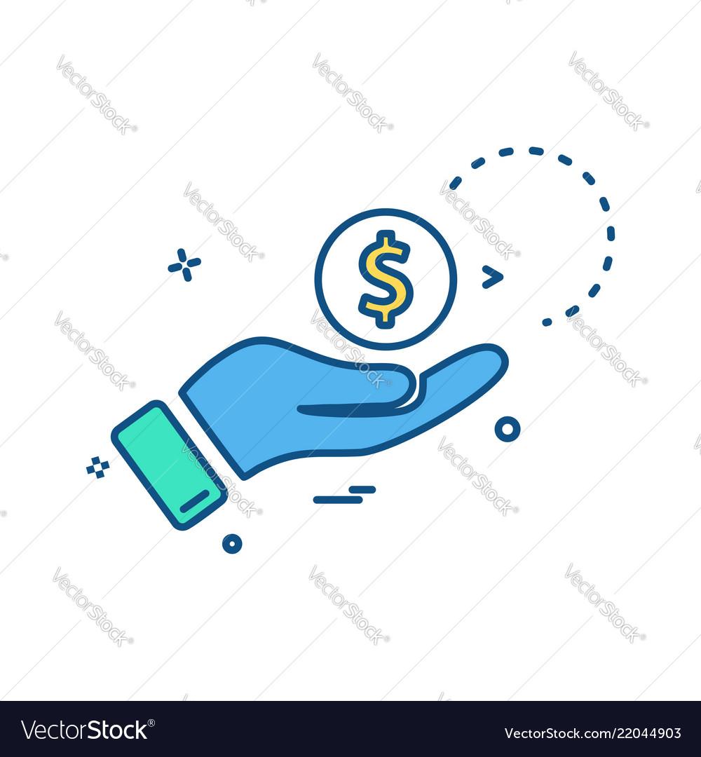 Hand dollar coin icon design