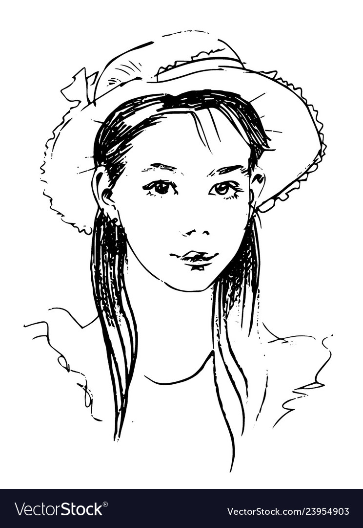 Hand drawn sketch of lady in hat