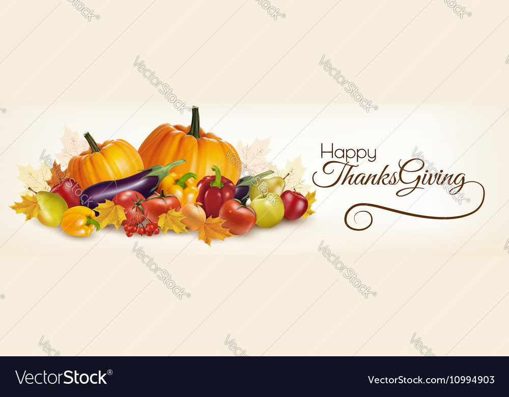 Happy Thanksgiving banner with autumn vegetables