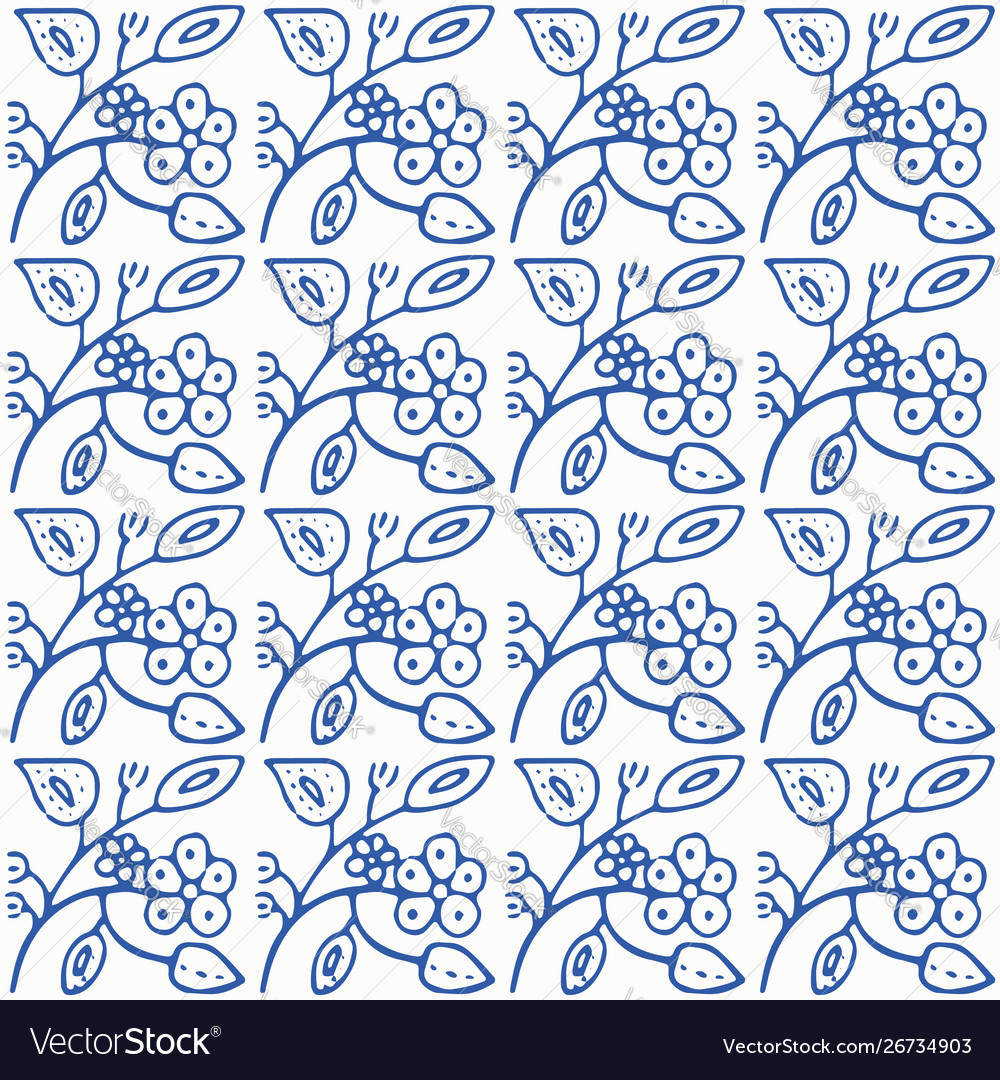 Indigo blue and white seamless floral pattern