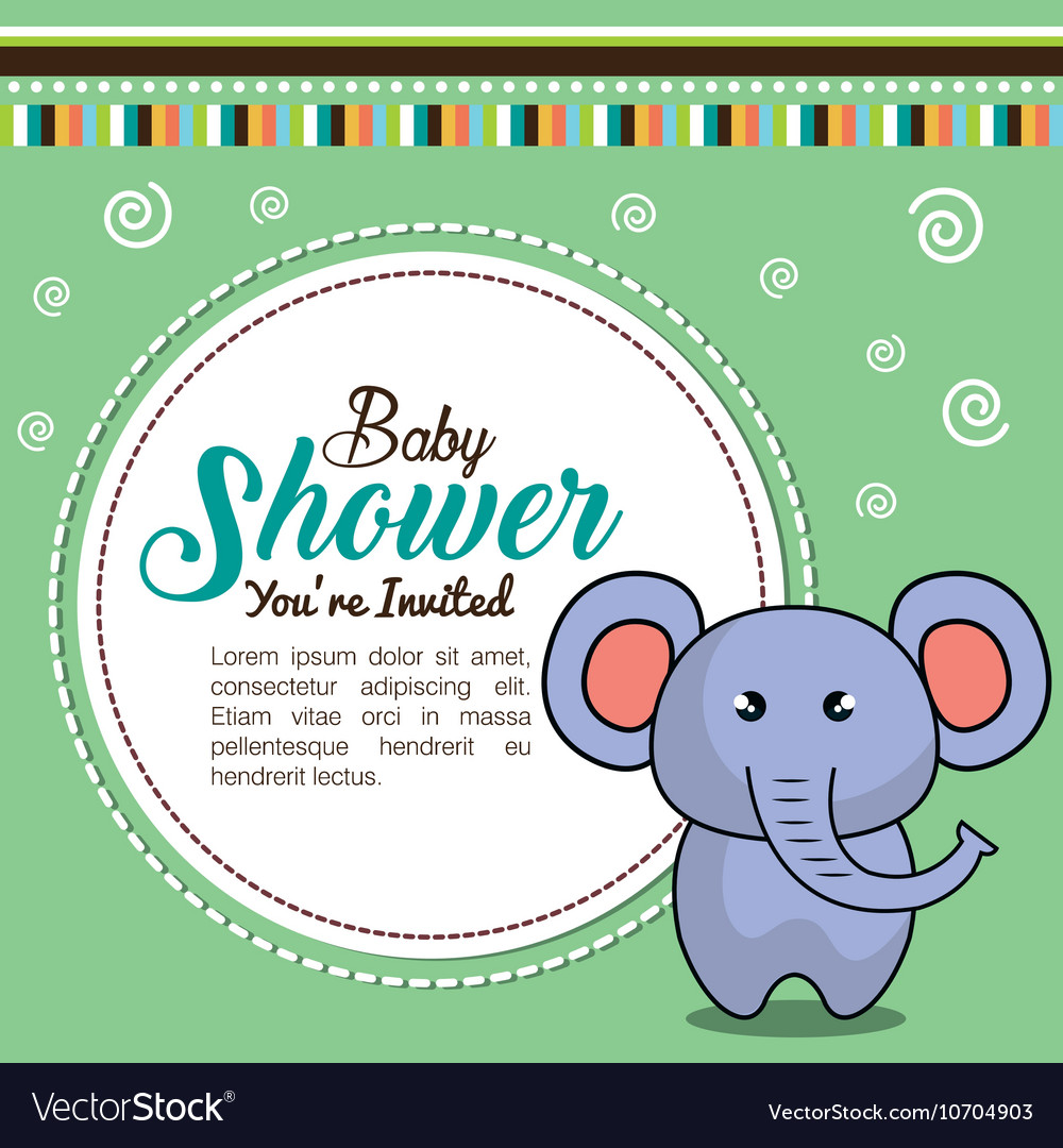 Invitation baby shower card with elephant desing vector image filmwisefo