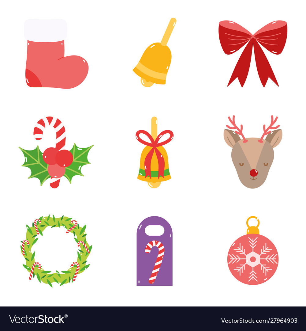 Merry christmas decoration ornament icons set