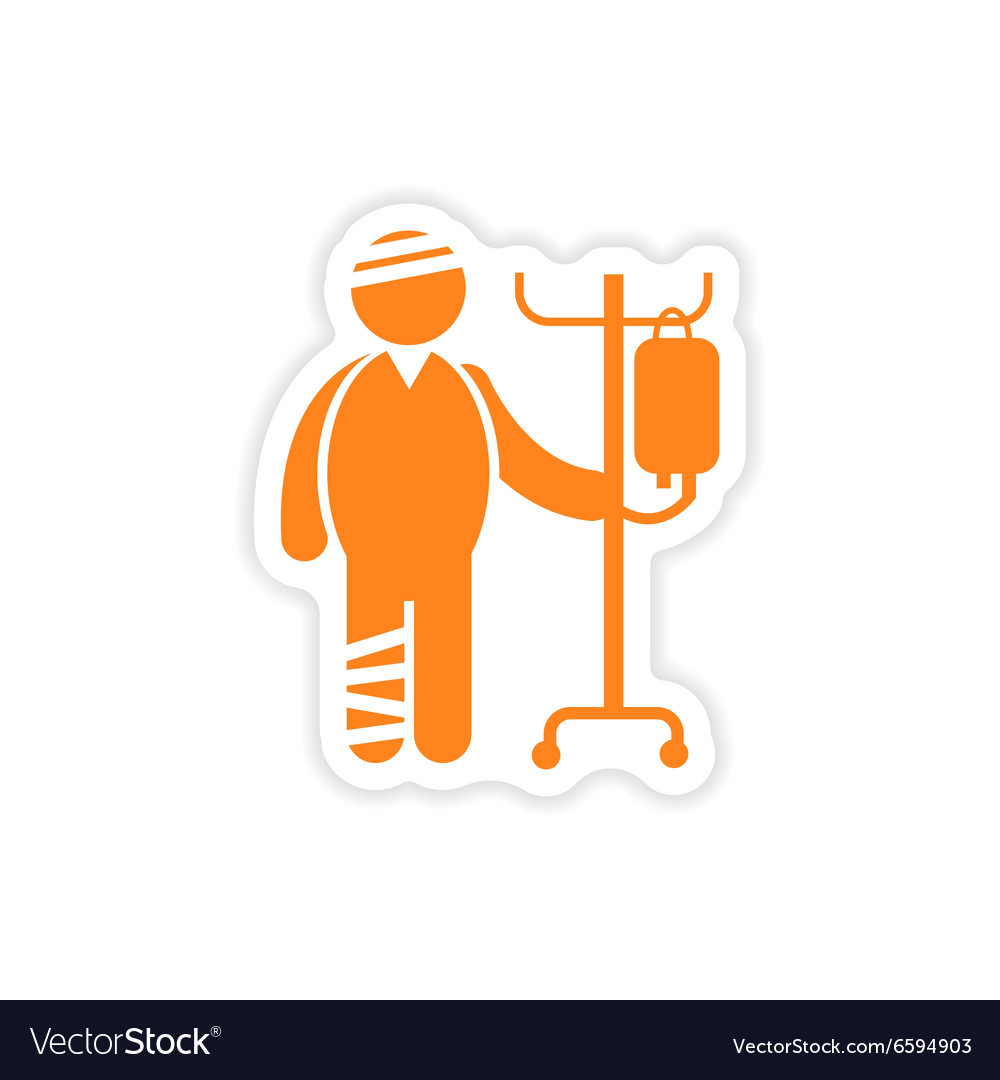 Paper sticker man bandaged on white background vector image