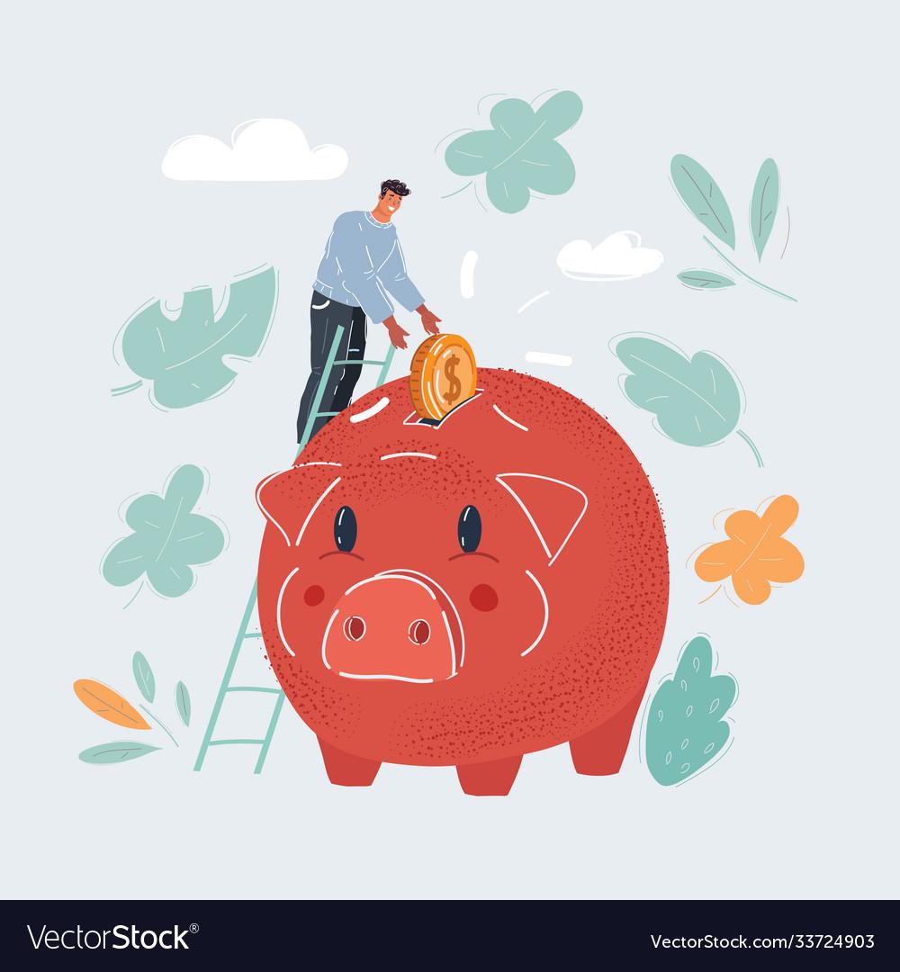 Piggy bank money box man