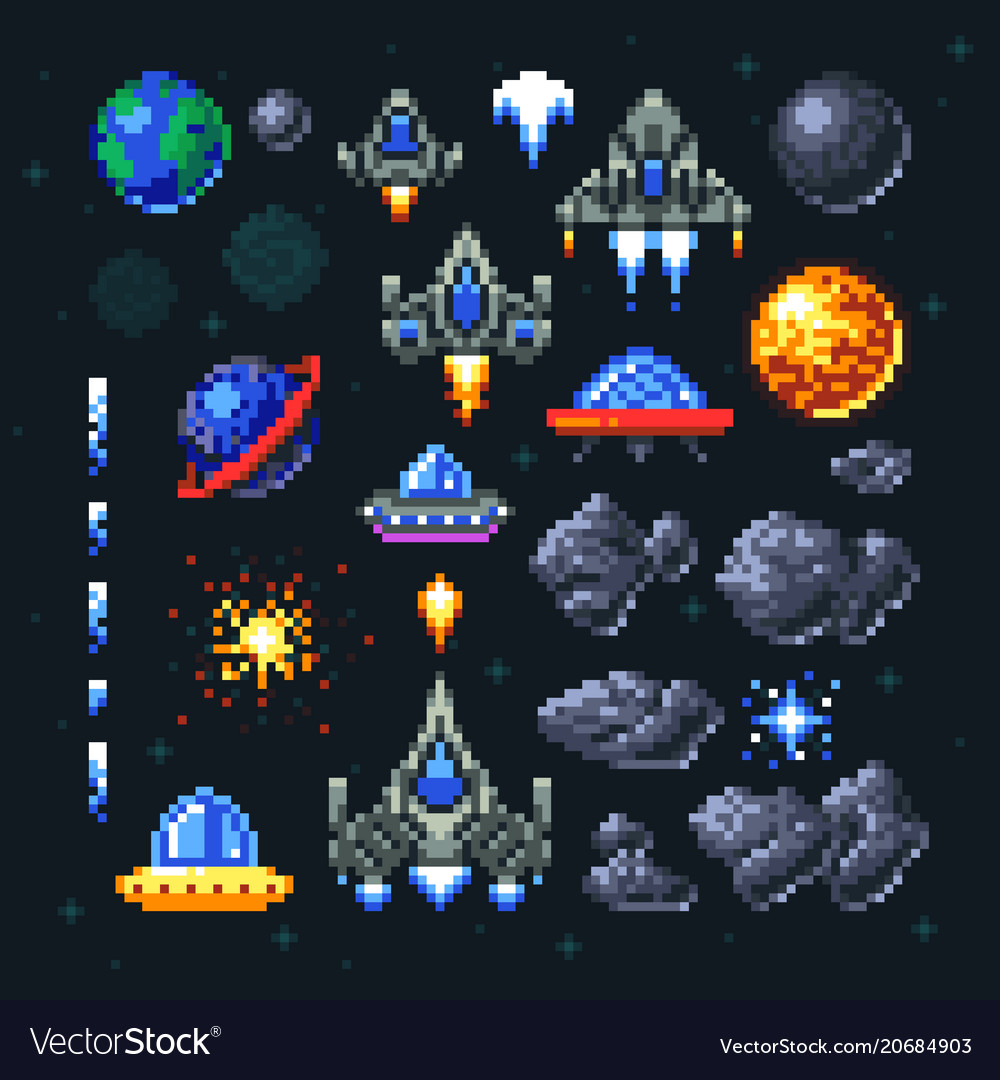 Retro Space Arcade Game Pixel Elements Invaders