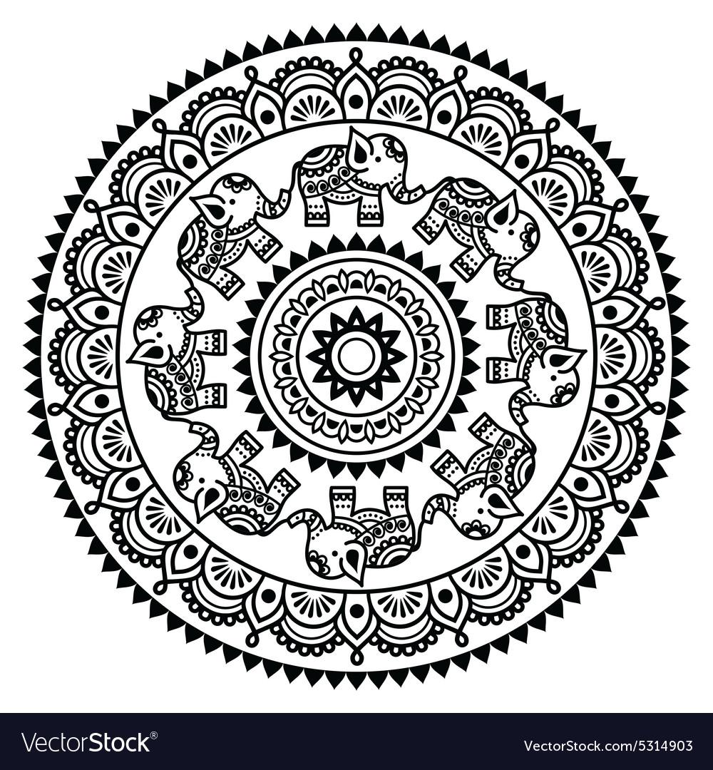 Round Mehndi Indian Henna tattoo pattern