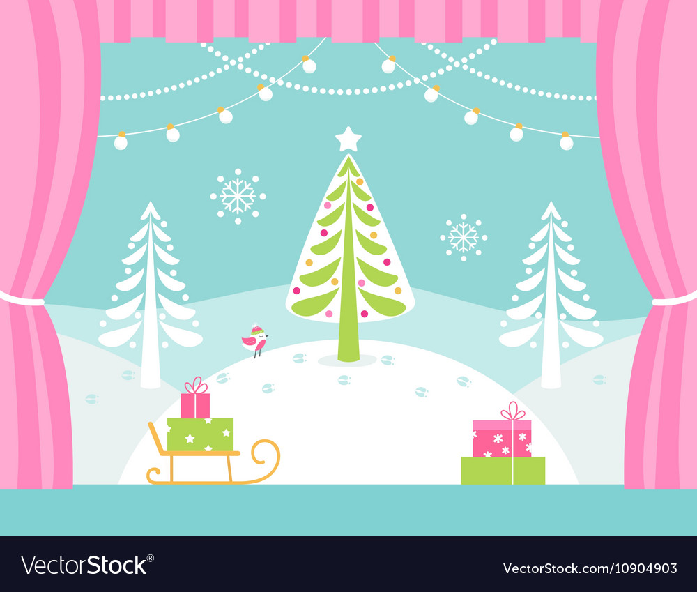 school or theatre stage decorations for christmas vector image - Christmas Stage Decorations