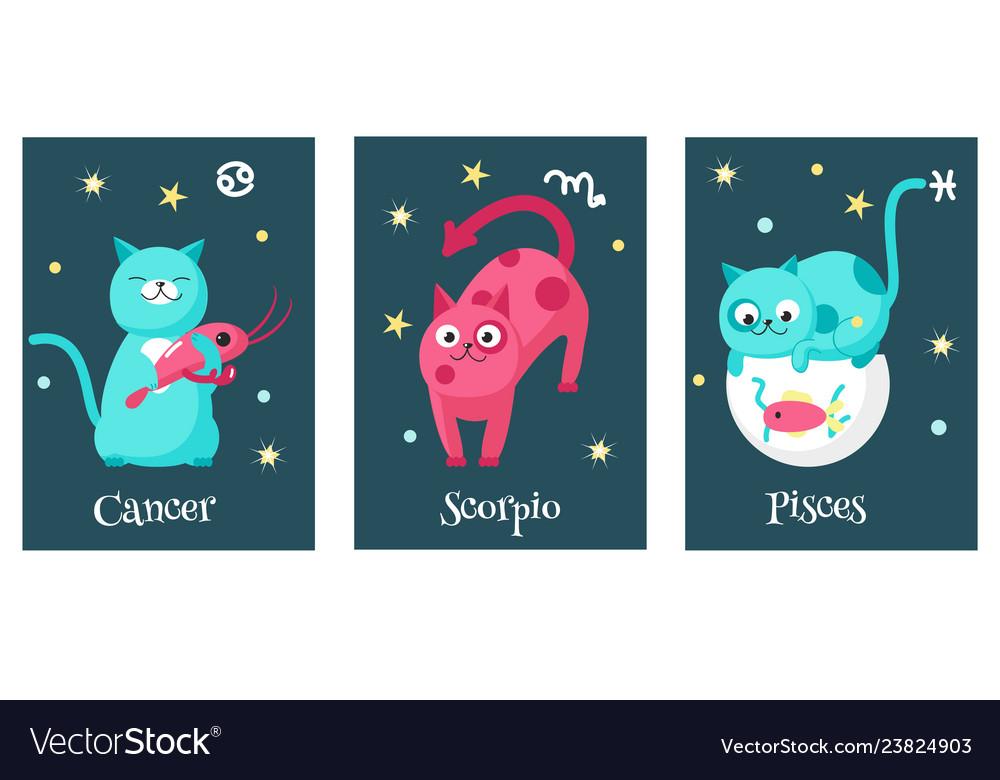 Set cat astrology zodiac sign cards