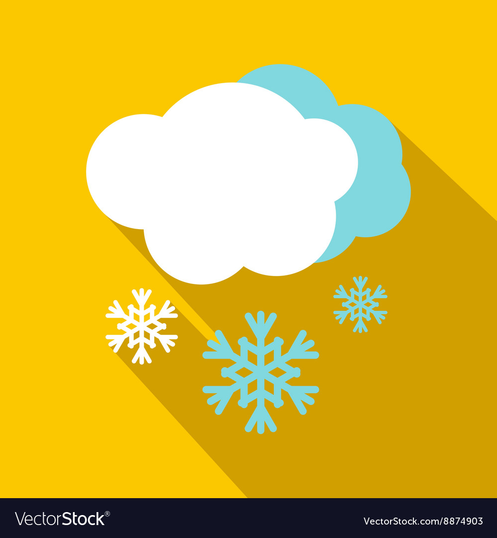 Snow and cloud icon flat style vector image