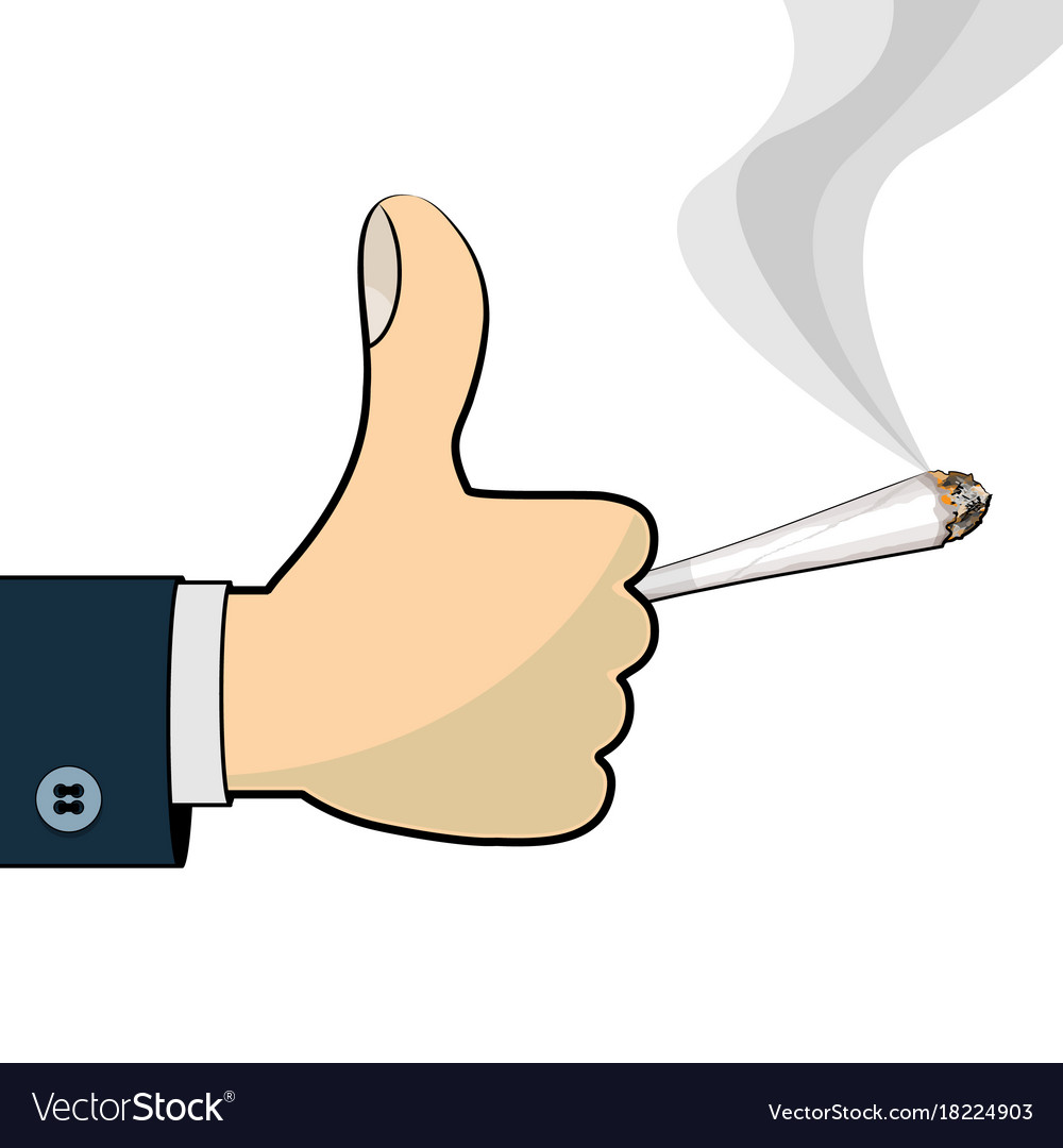 Thumb up for cannabis vector image
