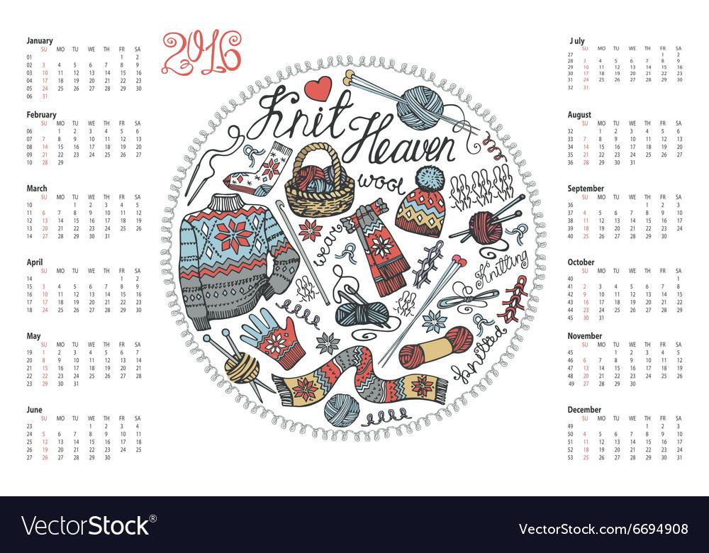 Calendar 2016Doodle hand made knitting