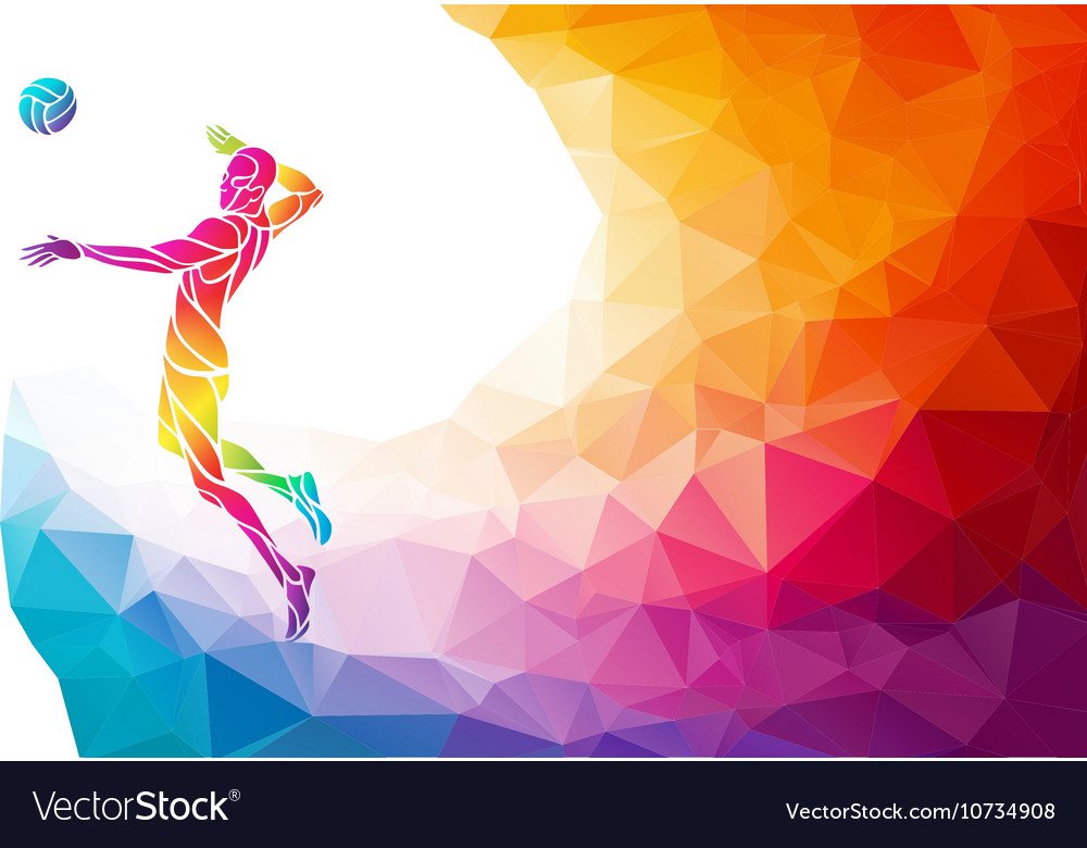 Color silhouette of volleyball player on attack