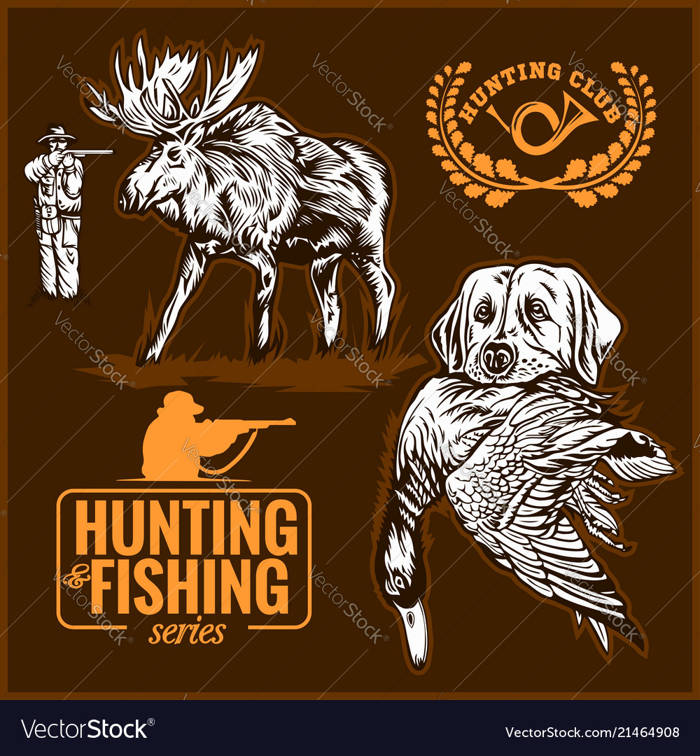 Elk hunting hunting logo hunting dog with a wild