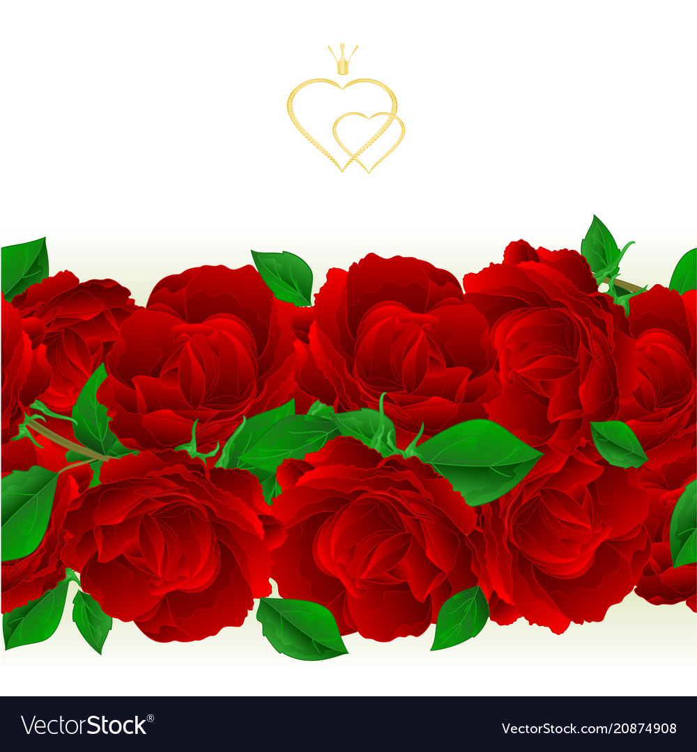 Floral border seamless background with roses