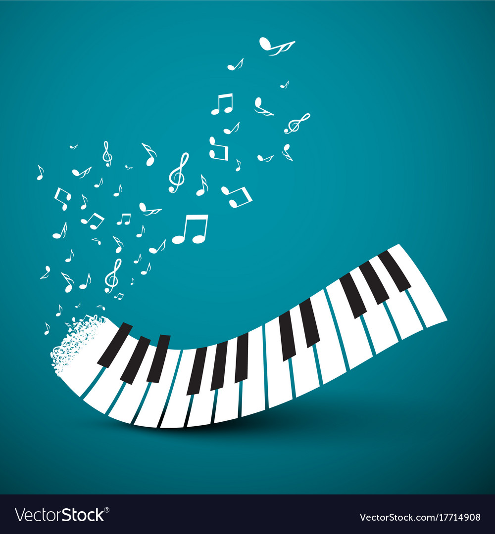 Flying notes with abstract piano keyboard music