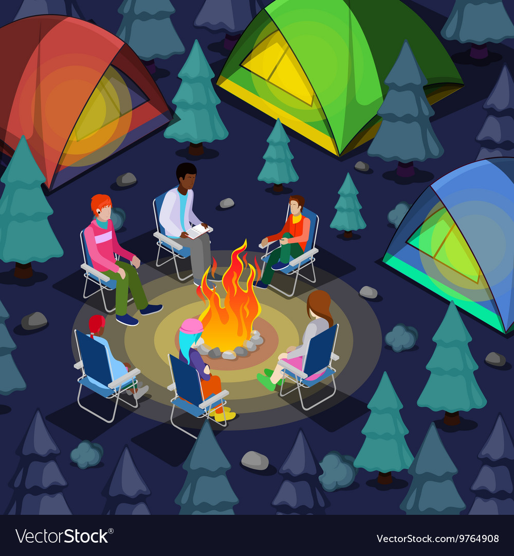 Isometric People Sitting Near Camping Bonfire