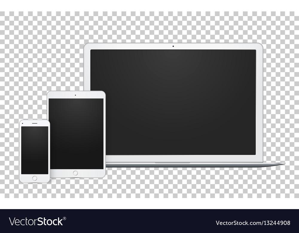 Realistic set of gadgets open laptop phone