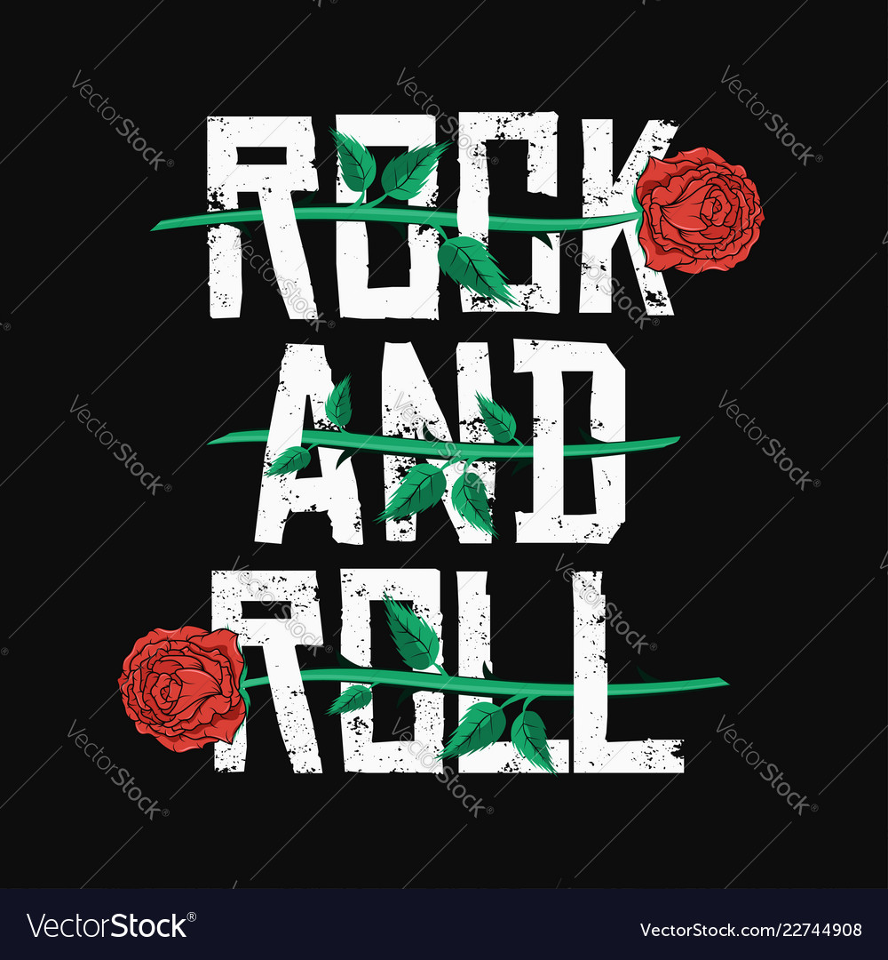 Rock and roll t-shirt design red roses between