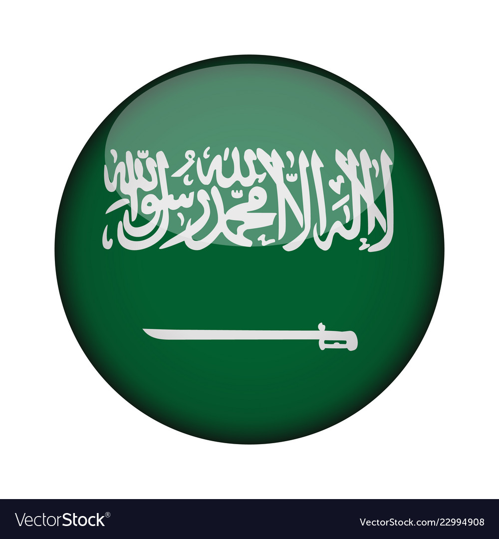 Saudi Arabia Flag In Glossy Round Button Of Icon