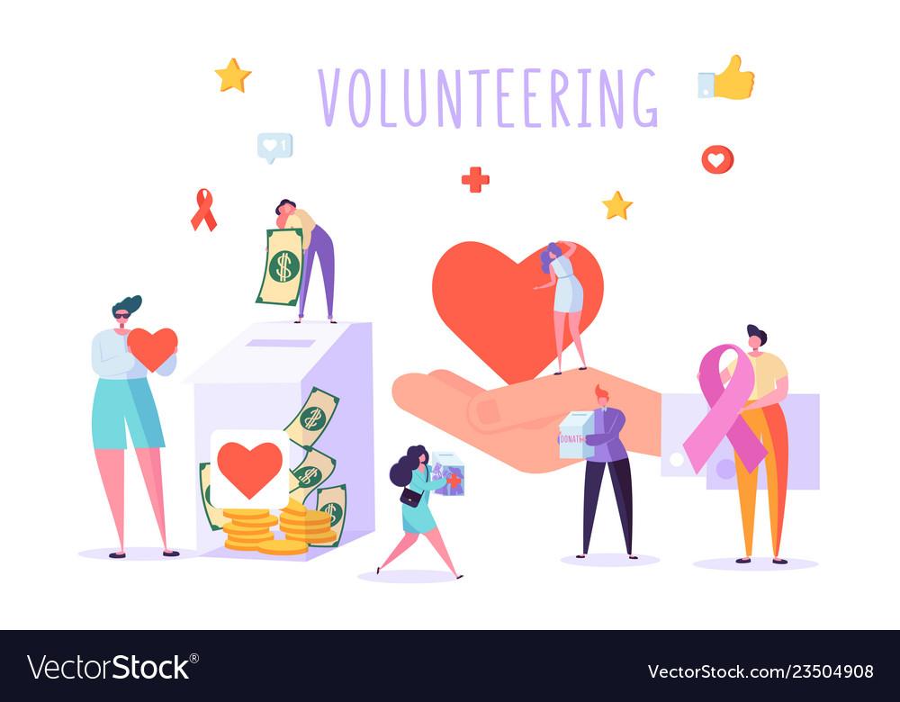 Social donate volunteer character banner people