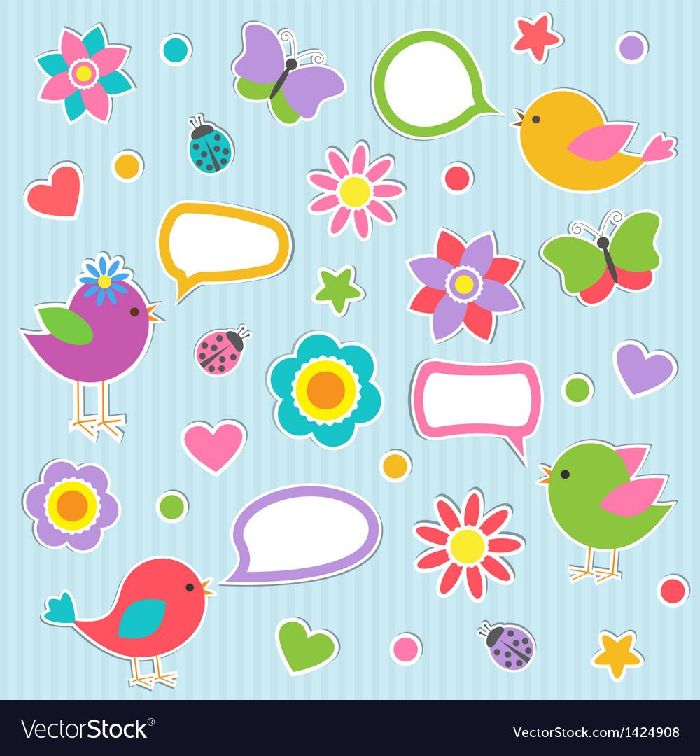 Speech bubbles with cute birds