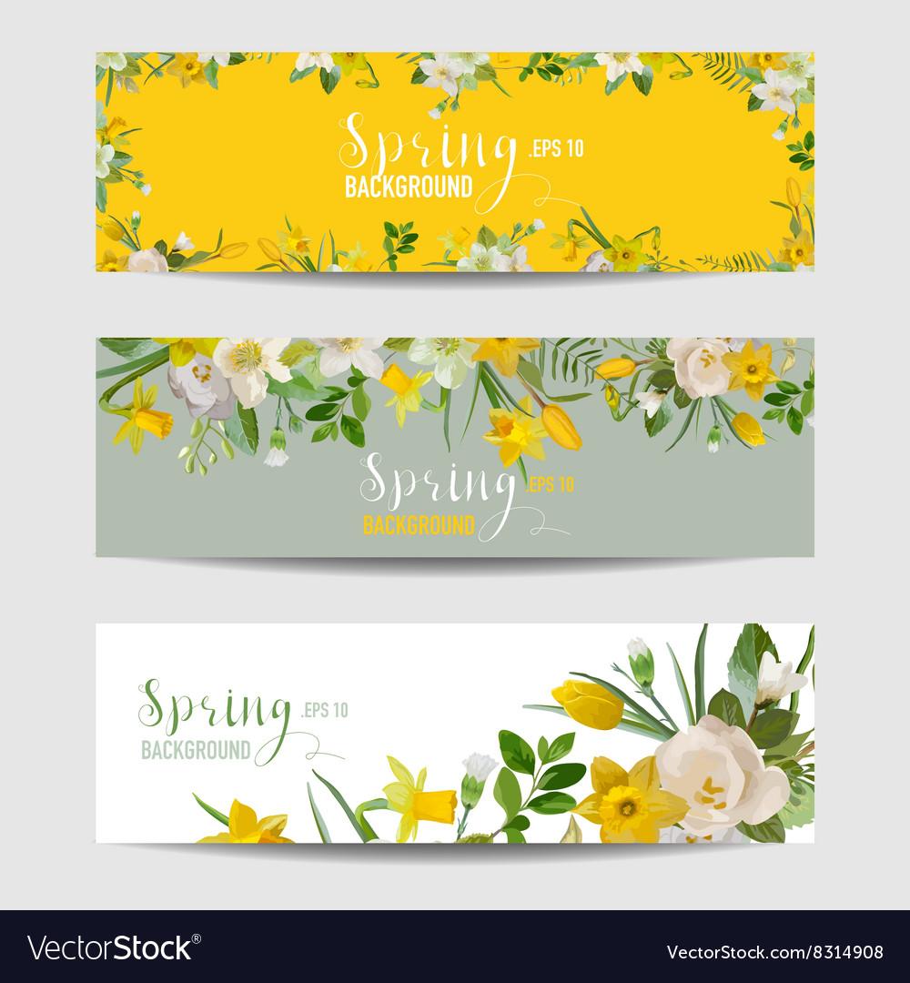 spring flower banner set royalty free vector image rh vectorstock com Hello Spring Spring Clip Art